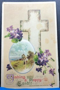 Easter Greeting Cross Purple Flowers Antique Postcard