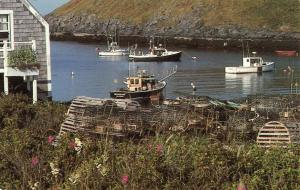 Postcard Lobster Traps Working Boats Maine