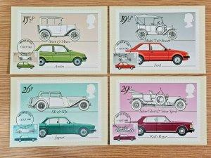 Set of 4 PHQ Stamp Postcards Set FDI (front) No.63 British Motor Cars 1982 KJ1