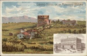 Grand Hotel De La Minerve Rome Roma Italy c1910 Advertising Postcard
