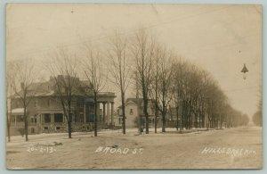Hillsdale Michigan~Two-Story Columns & Balcony~Mansion on Broad Street~1908 RPPC