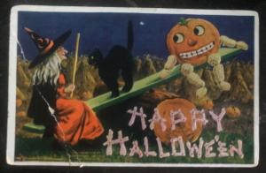 1909 New York Usa Picture Postcard PPC Cover Happy Halloween