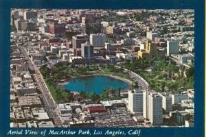Aerial View of Macarthur Park, Los Angeles, California un...