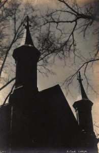 YELLOW SPRINGS OHIO~ANTIOCH COLLEGE~SPIRES-SHADOWS~1920-30s REAL PHOTO POSTCARD