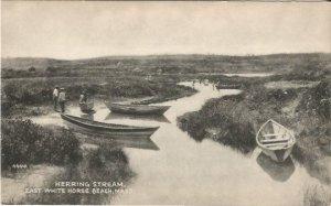 Herring Stream East White Horse Beach Massachusetts Vintage Postcard Canoe Boats
