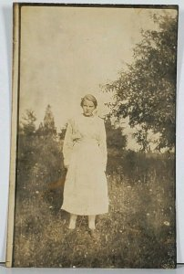 RPPC Young Lady in Field Hagerstown Md Family Est Postcard K2