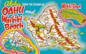Greetings From Oahu and Wikiki Beach With Map 1975
