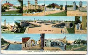 St Augustine, Florida Postcard 'Eleven Leading Views Multi-View Curteich c1920s