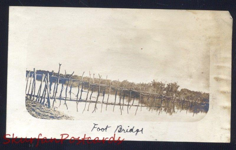 FOOT BRIDGE WWI ERA THE PHILIPPINES PHILIPPINE ISLANDS REAL PHOTO PHOTOGRAPH