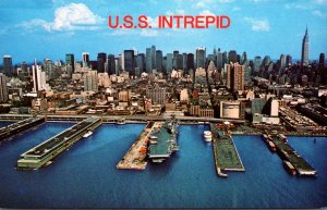 U S S Intrepid Naval Aircraft Carrier Tied Up At Pier 86 New York City