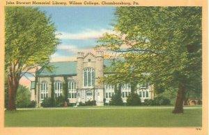 Chambersburg PA Wilson College John Stewart Memorial Library Linen Postcard