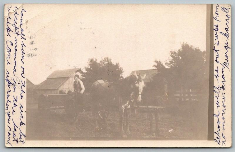 Victor Iowa~George Carroll on the Farm~This is Me & my Horse Team~1910 RPPC