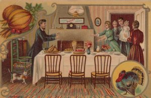 THANKSGIVING; 1900-10s; Welcome Thanksgiving Day, Family Meal, Wild Turkey, Cat