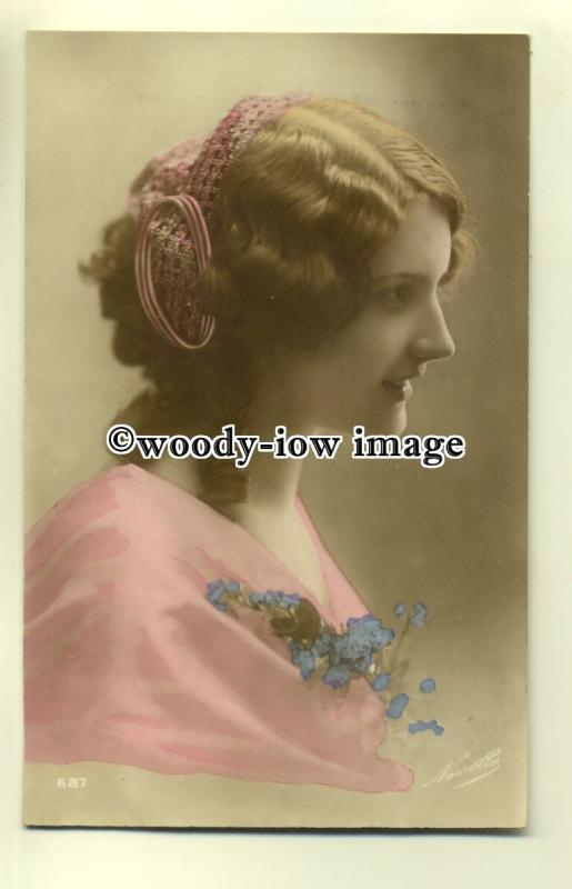 su1839 - Portrait of Young Woman in Pink Dress & Ribbons in her Hair -  postcard