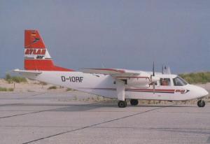 D-IORF at Heligoland Dune Atlas Air Service Ganderkesee German Plane Postcard