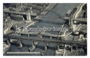 tq2636 - Durham - Aerial View of  Tyne Bridges, Newcastle-upon-Tyne - Postcard