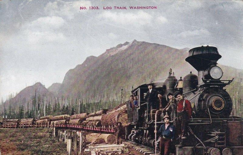Vintage Véritable Coloré Photo Carte Postale Bûche Train Washington Lowman &
