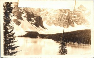 Postcard RPPC Alberta Canada Moraine Lake - rare - great detail - unposted