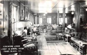 Missouri Mo Postcard c1940s OSAGE BEACH Kirkwood Lodge Interior Real Photo RPPC