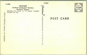 Portland, Oregon Postcard ZOOLINER Zoological Gardens Zoo Train c1950s Unused