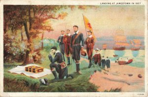 Landing at Jamestown Ships Pilgrims Row Boats Postcard