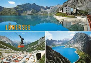 Luenersee mit Douglas Huette und Luenerseebahn Vorarlberg Auto Cars