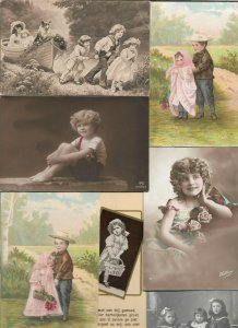 Cute Kids Flowers Vintage Postcard Lot of 20 with RPPC   01.16