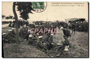 Postcard Old Army Maneuvers d & # 39automne Grand Halte d & # 39infanterie Cafe
