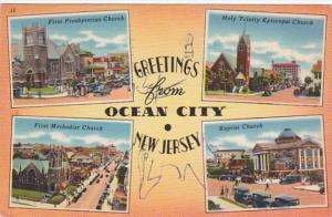 New Jersey Greetings From Ocean City Showing Churches 1964