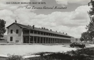 Fort Laramie National Monument Wyoming~Car at Old Cavalry Barracks~1940s RPPC