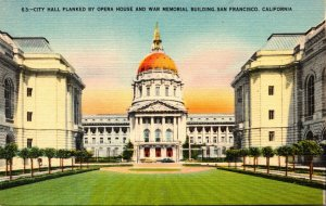 California San Francisco City Hall Flanked By Opera House and War Memorial Bu...