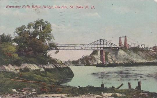 Canada St John Reversing Falls Below Bridge At Low Tide 1909