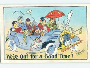 Pre-Linen comic DOG AND PET BIRD IN CROWDED FAMILY CAR HL2452