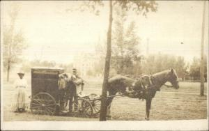 Unusual Horse Drawn - Man & Woman - Moving??? c1910 Real Photo Postcard