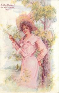 G Freyschlag~Lovely Lady In Pink Rests Against Young Tree~Wide Straw Hat~1909