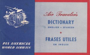 Pan American World  Airways , Air Traveler's Dictionary , ENGLISH - SPANISH ,...
