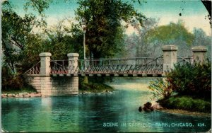 Vtg Postal 1912 Chicago Illinois Il Garfield Parque Escena Puente Acmegraph