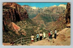 Zion National Park UT-Utah, Switchbacks, Mt Carmel Highway, Chrome Postcard