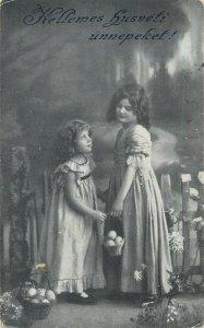 Postcard Easter greetings charming elegant young girls eggs baskets
