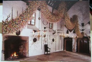 England Cotehele Cornwall Hall decorated for Christmas - unposted