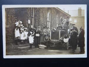 Walthamstow Fire Engine (2) FATHER CHRISTMAS Delivers Presents c1921 RP Postcard