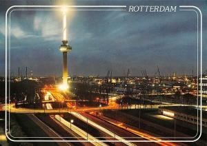 Netherlands Rotterdam Avondopname van de Euromast Tower Night view Harbour