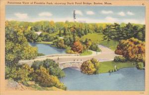 Panorama View Of Franklin Showing Duck Pond Bridge Boston Massachusetts 1950