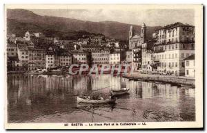 Old Postcard Bastia The old port and the cathedral