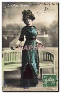 Postcard Old Fashion Headdress Woman culottte skirt