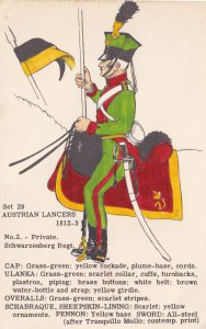 Austrian Private Lancer Schwarzenberg Regiment Napoleonic War Uniform Postcard