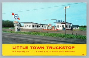 FOREST LAKE MN GAS STATION LITTLE TOWN TRUCK STOP VINTAGE POSTCARD