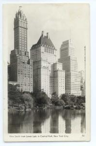 RPPC View South from Lower Lake Central Park New York City NY
