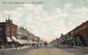 LPS79 Independence Kansas Penn Avenue looking North Town View Postcard