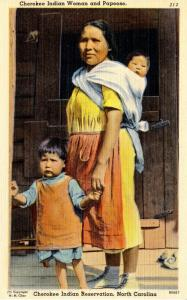 NC - Cherokee Indian Reservation. Indian Woman and Papoose